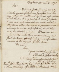 Richard Clarke Tea Consignee Letter 1773