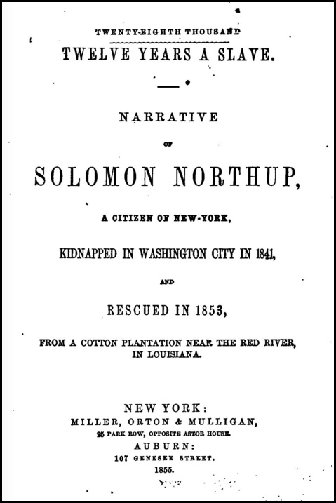 12 Years a Slave 1855 title page