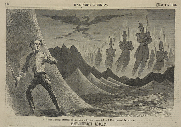 A Rebel General Startled in His Camp by the Beautiful and Unexpected Display of Northern Light, May 25, 1861, Harper's Weekly, Library of Congress