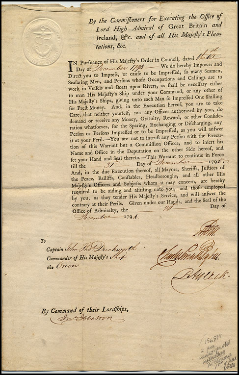 British Admiralty Press Warrant, 1794