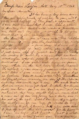 Letter written by J. C. Morris in camp near Lanjer jpeg