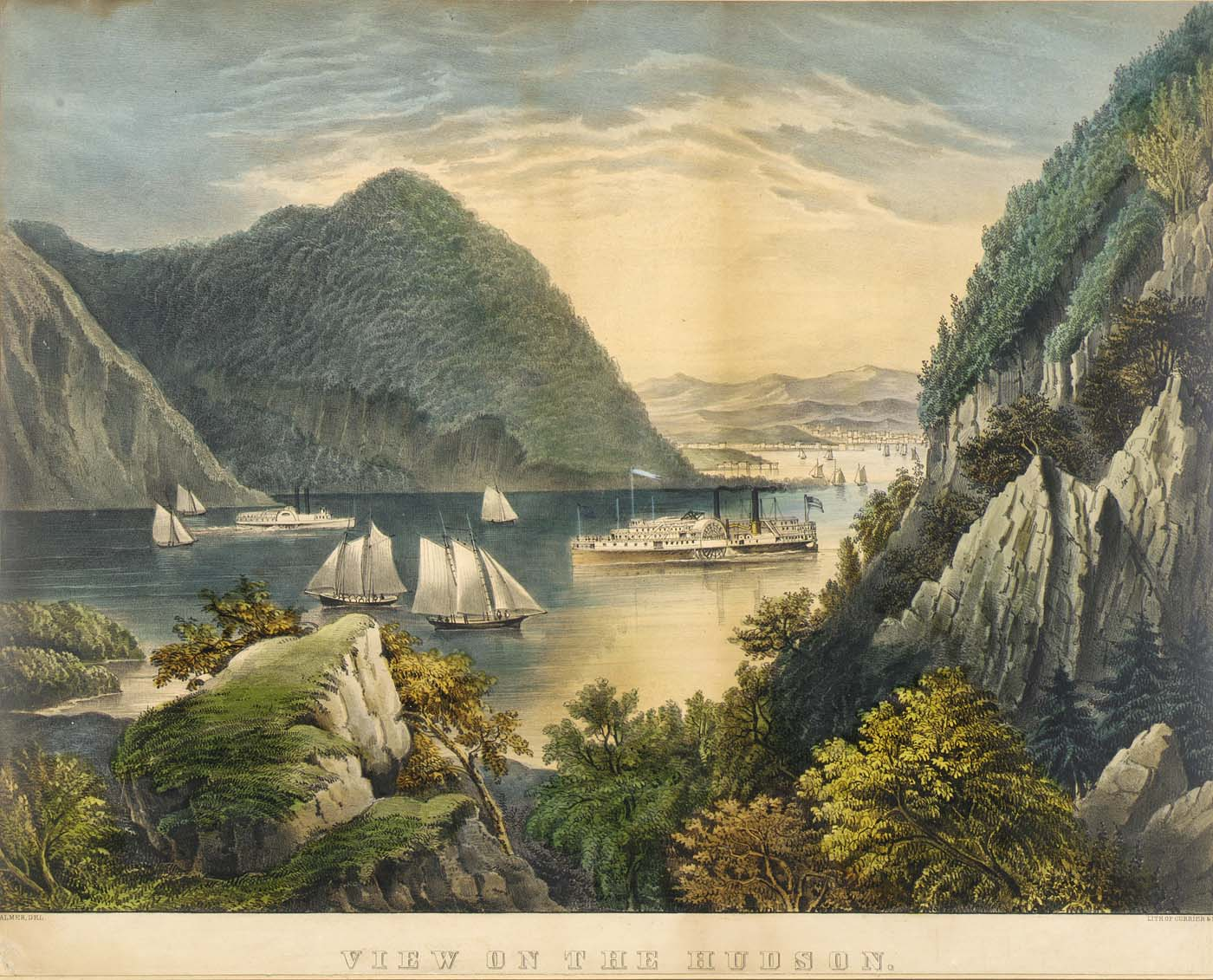 View of the Hudson, ca. 1865, Frances Flora Bond Palmer, color lithograph, Smithsonian American Art Museum
