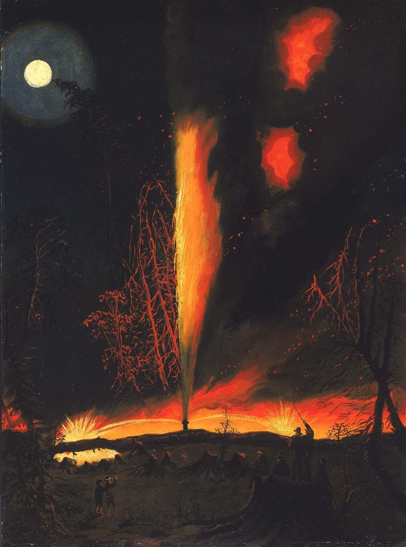 1977.50_1a Burning Oil Well at Night, near Rouseville, Pennsylvania