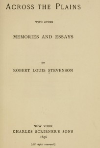 Across the Plains, 1896, Robert Louis Stevenson