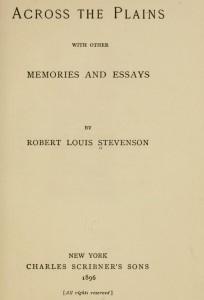 Across the Plains, 1896, Robert Louis Stevenson