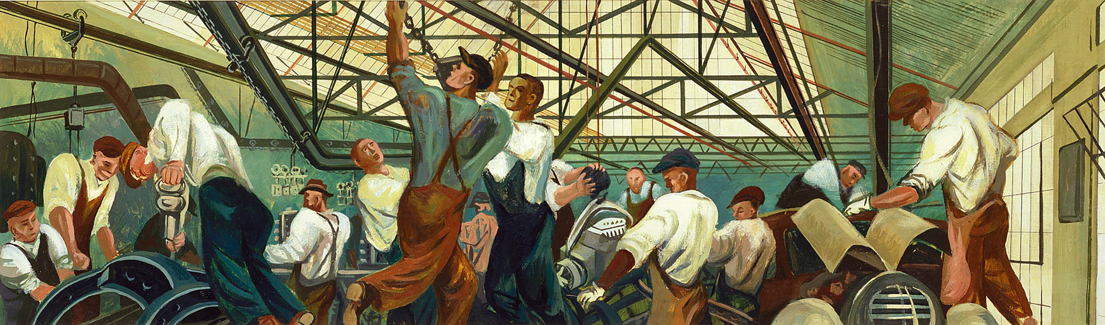Automobile Industry (mural study, Detroit, Michigan Post Office)_1971.2_1a