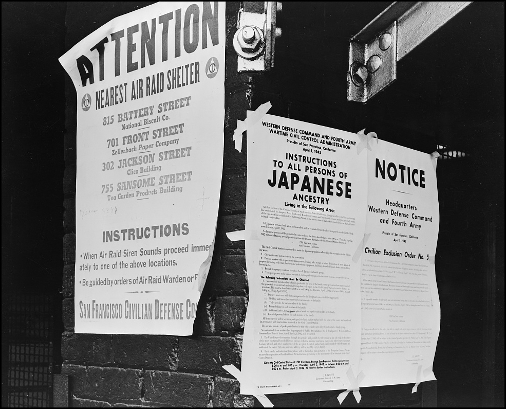 Civilian exclusion order #5, posted at First and Front streets, directing removal by April 7 of persons of Japanese ancestry, from the first San Francisco section to be affected by evacuation. Courtesy of the Library of Congress.