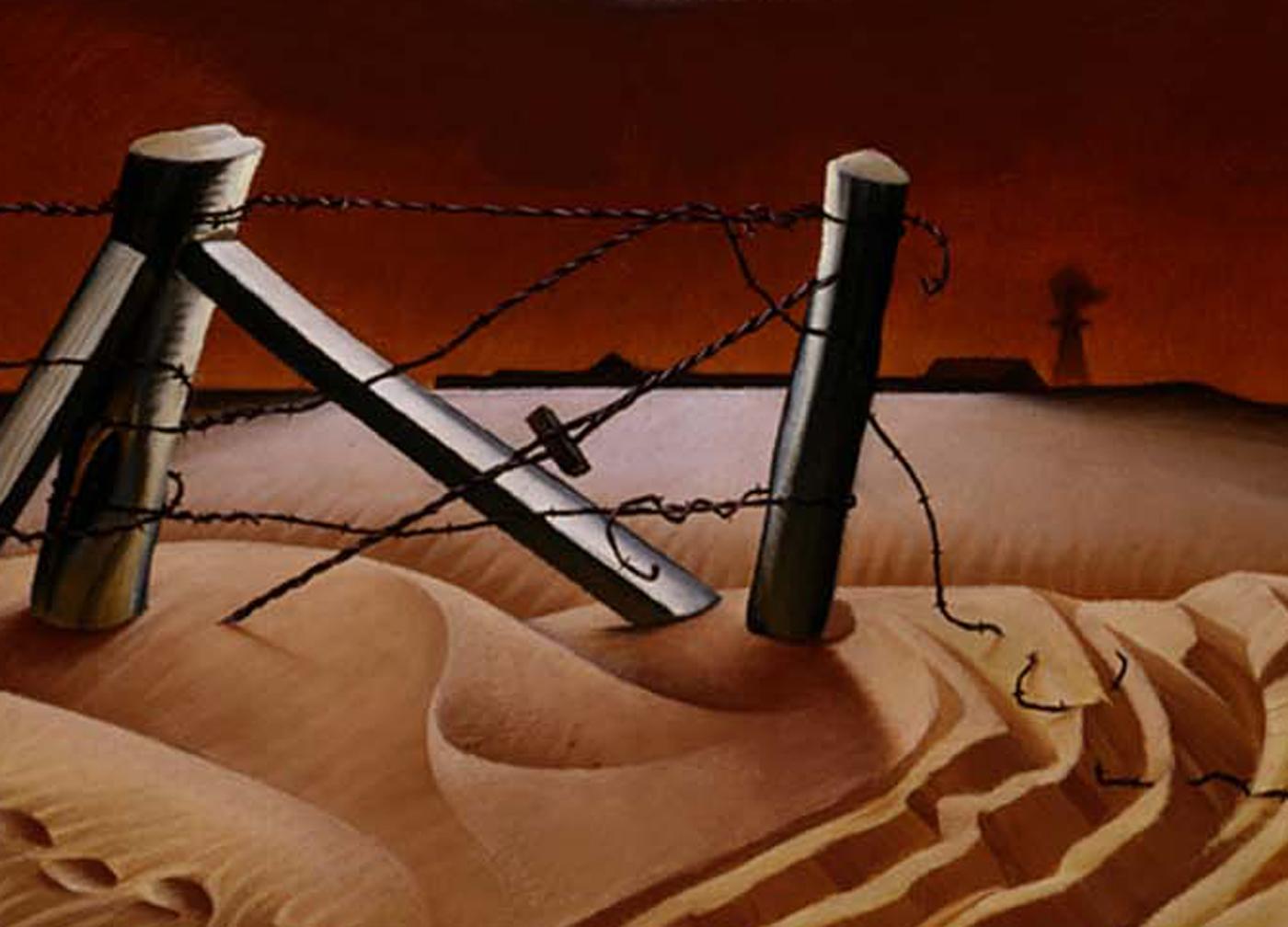Dust Bowl_Broken fence crop