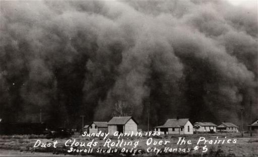 Dust clouds rolling over prairies, Hugoton, Kansas, 1935, Courtesy of the Kansas Memory Project