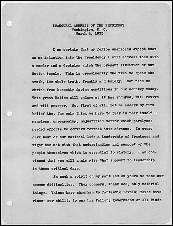 FDRs First Inaugural Address - War on the Depression
