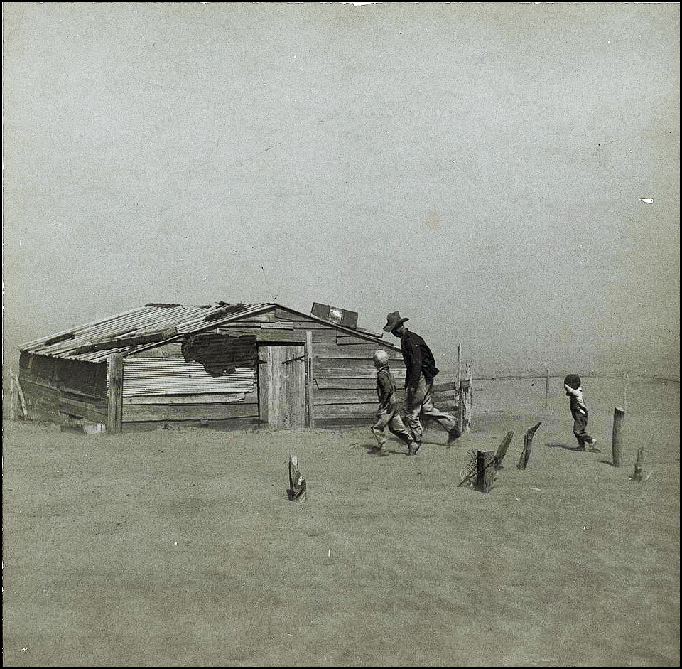 Farmer and sons walking in the face of a dust storm, Cimarron County, Oklahoma, 1936, Arthur Rothstein, Courtesy of the Library of Congress