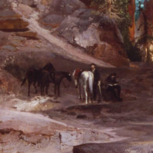 Grand Canyon of the Yelowstone - group with horses detail