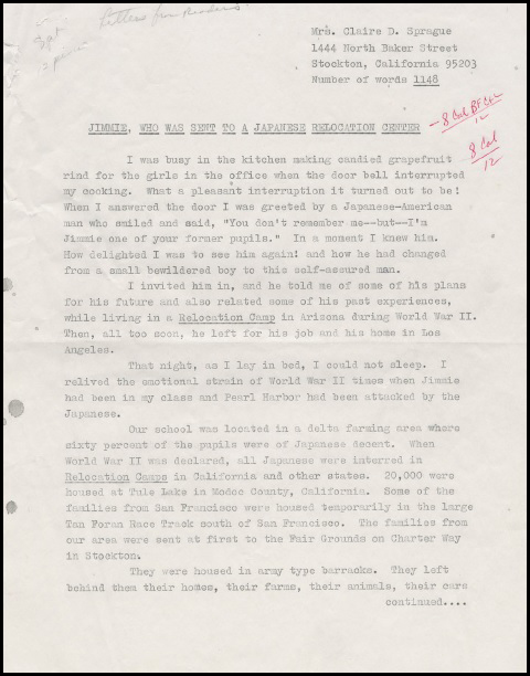IMG_ a letter from a teacher about her student Jimmie who was sent to an internment camp,1942