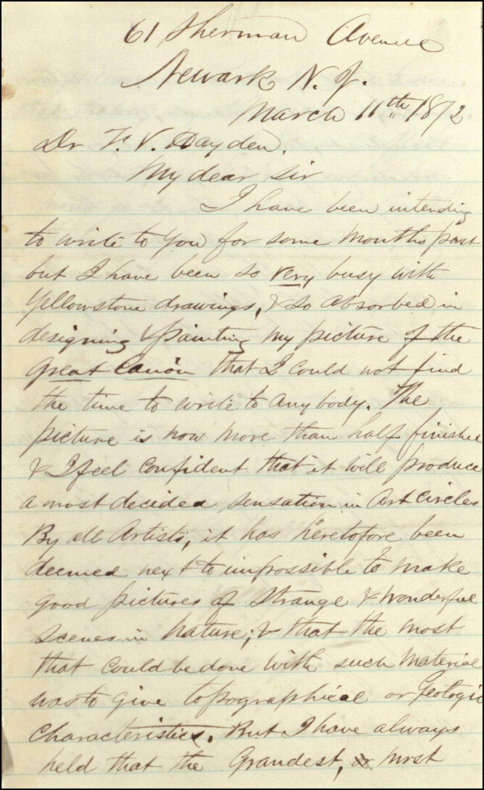 Letter from Thomas Moran to Frederick V. Hayden_NARA