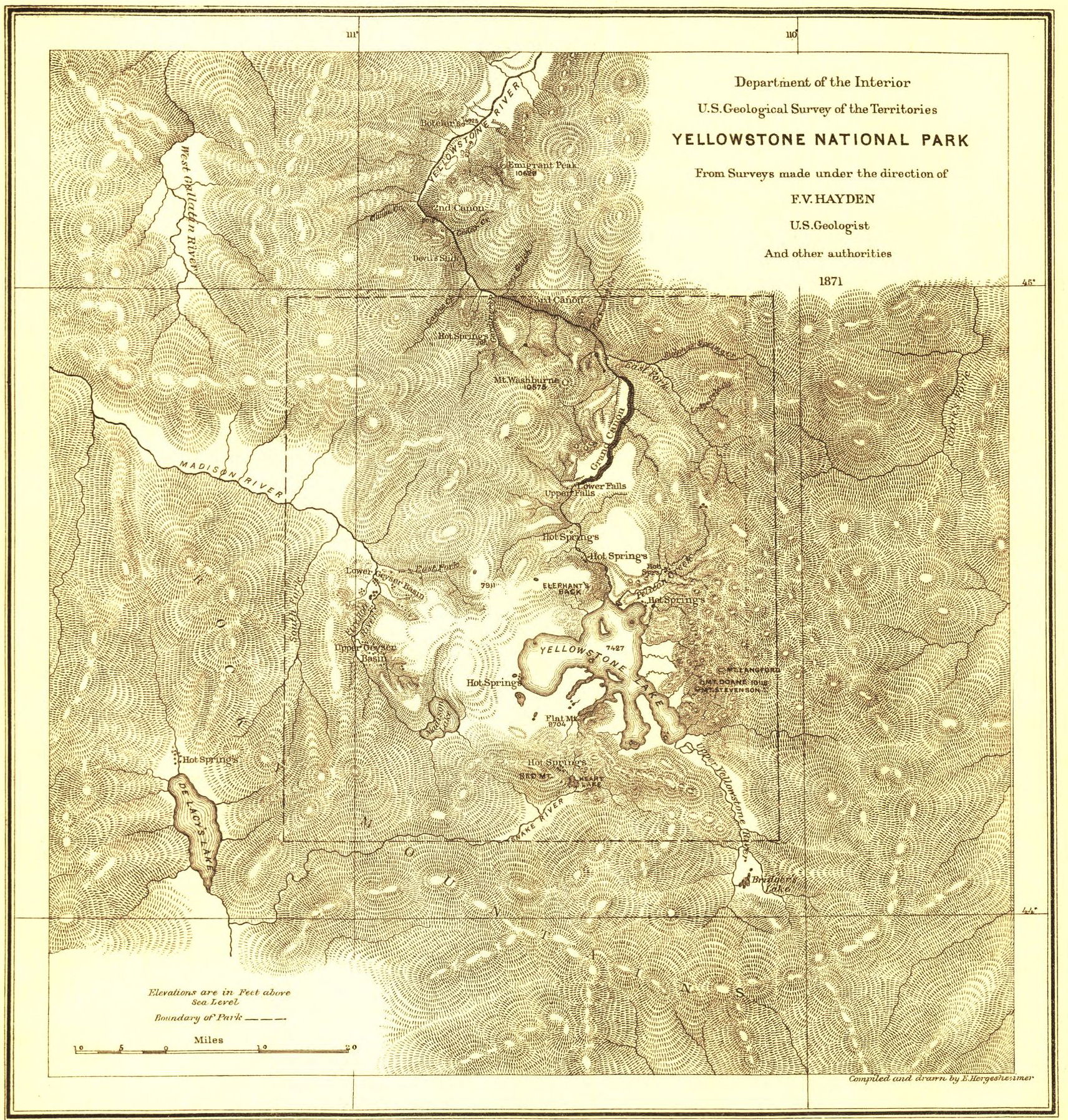 Map of Yellowstone from 1871 survey