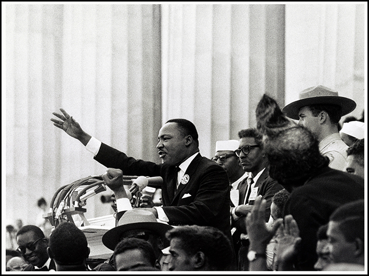 Martin Luther King delivers the I have a dream speech from the podium at the March on Washington