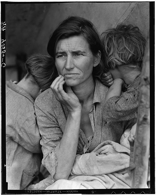 """Migrant Mother"" (Destitute pea pickers in California), 1936, Dorothea Lange, Library of Congress"