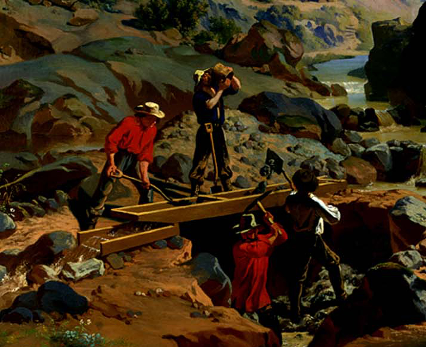 Miners in the Sierras detail