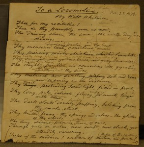 To a Locomotive Walt Whitman hand written